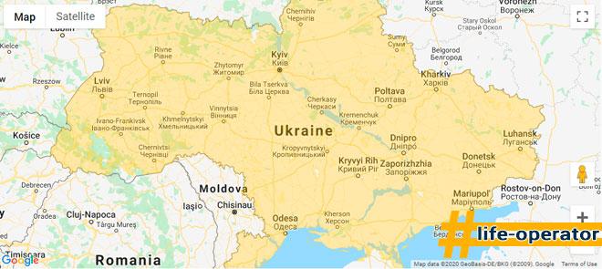 зоны покрытия 2g lifecell Украина